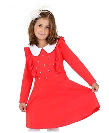 Dolce Liya Full Sleeves Collar Dress Pearl Detailing - Red