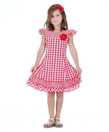 Dolce Liya Short Sleeves Party Dress Floral Applique - Red