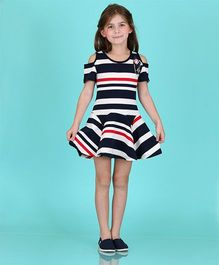 Dolce Liya Party Dress Anchor Patch - Navy And White