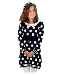 Dolce Liya Full Sleeves Knit Dress Polka Dot Pattern - Navy