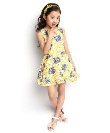 Dolce Liya Sleeveless Dress Floral Print - Yellow