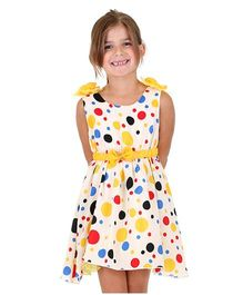 Dolce Liya Sleeveless Party Dress Bow Applique - Yellow And White
