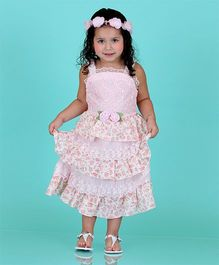 Dolce Liya Sleeveless Party Dress Floral Applique - Pink