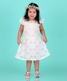 Dolce Liya Flutter Sleeves Party Dress Studded Detailing - White