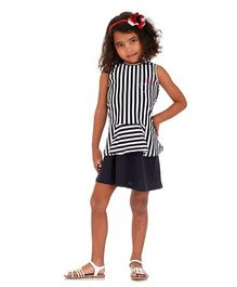 Mikko Kids Black And White Stripe Peplum Dress