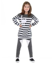 Mikko Kids Stripe Tunic And Leggings Set - Grey And White