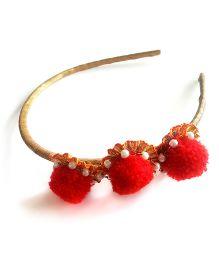 Soulfulsaai Red Pompom Hairband