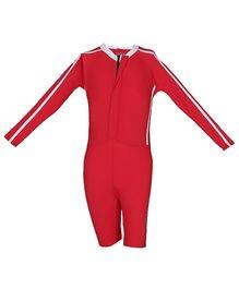Imagica Full Sleeves Legged Swimsuit - Red