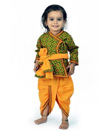 Little India Angarkha Style Kurta Dhoti Set Bagru Design - Green Yellow