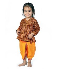 Little India Angarkha Style Kurta Dhoti Set Sanganeri Design - Orange Yellow