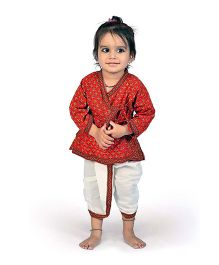 Little India Angarkha Style Kurta Dhoti Set Bagru Design - Red White