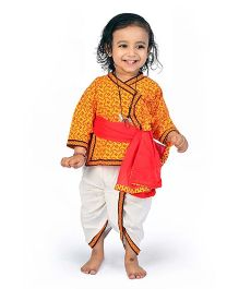 Little India Dhoti Angarkha Set With Dupatta Ethnic Design - Red Yellow