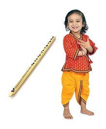 Little India Dhoti Kurta Set With Flute - Red Yellow