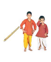 Little India Dhoti Kurta Set Pack Of 2 With Flute - Multi Colour