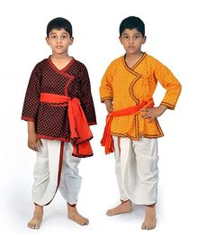 Little India Angrakha Kurta And Dhoti Set Pack Of 2 - Multi Colour