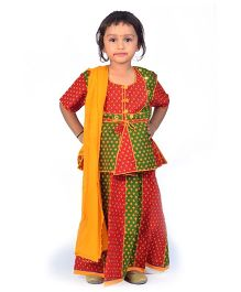 Little India Lehenga Choli With Dupatta Booti Work - Red Green
