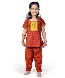 Little India Salwar Kameez Bagru Design - Red