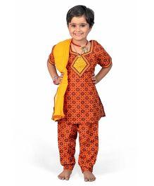 Little India Salwar Kameez With Dupatta Bagru Design - Red Yellow