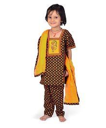 Little India Salwar Kameez With Dupatta Booti Work - Black And Yellow