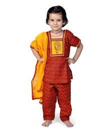 Little India Salwar Kameez With Dupatta Bagru Design - Red And Yellow