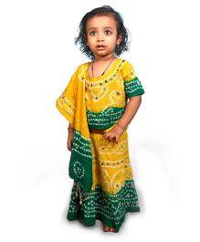 Little India Lehenga Choli With Dupatta Mirror Work - Green And Yellow