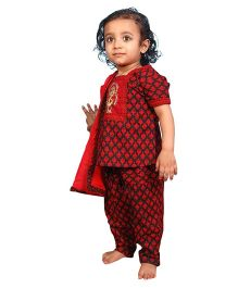 Little India Salwar Suit With Dupatta Bagru Print - Red And Black