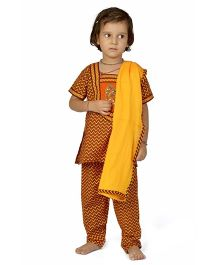 Little India Salwar Suit With Dupatta Bagru Print - Orange And Black