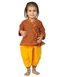 Little India Angrakha And Dhoti Zig Zag Bagru Print - Orange