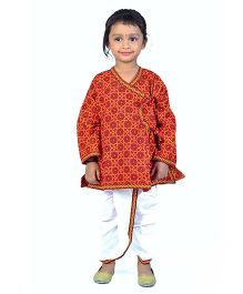 Little India Cotton Dhoti Angrakha Set Traditional Bagru Design - Red