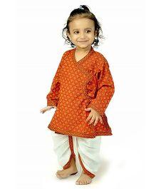 Little India Full Sleeves Kurta And Dhoti Set Bagru Print - Red