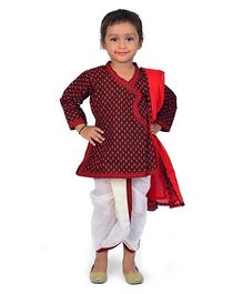Little India Full Sleeves Angarkha And Dhoti Set Jaipuri Design - Red And Black