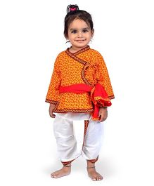 Little India Angarkha And Dhoti Set Sanganeri Design - Red And Yellow