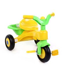 Baby Tricycle With Rear Basket - Yellow And Green