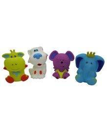Baby Steps Squeeze Cartoon Animal Set Of 4 - Multicolour