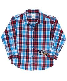 Babyhug Full Sleeves Plaid Shirt Bike Patch - Aqua And Red