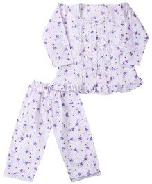 Yellow Duck Full Sleeves Nightsuit - White And Purple