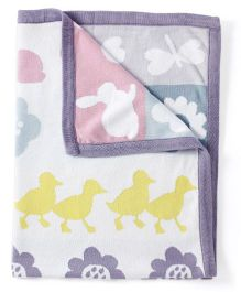 Pebbles Knitted Blanket Birds And Floral Design - White And Purple