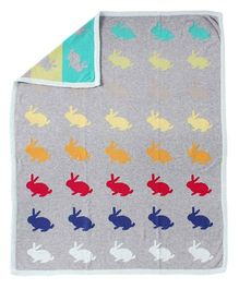 Pebbles Knitted Blanket Rabbit Design - Grey