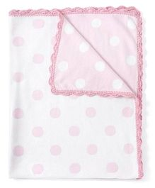 Pebbles Knitted Blanket Polka Dot Design - White And Pink