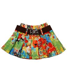 Babyhug Pleated Skirt With Belt - Multicolor