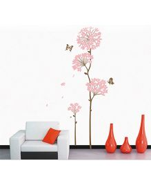 Studio Briana Wind Blown Flower Trees Wall Decal - Light Pink