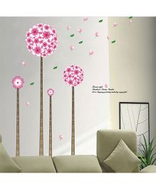Studio Briana Artistic Flowers And Trees Wall Decal - Pink
