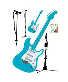 Studio Briana Guitar And Microphone Wall Decal - Blue