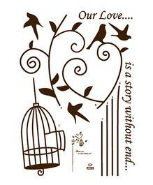 Studio Briana Bird Cage On A Tree With Birds Wall Sticker - Dark Brown