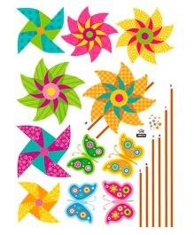 Studio Briana Colorful Festival Theme Paper Windmills With Butterflies Wall Stickers - Multi Color