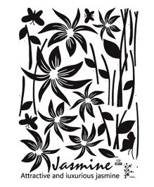 Studio Briana Jasmine Plant Line Art Wall Sticker - Black
