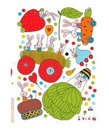 Studio Briana Bright And Colorful Cartoons Wall Sticker - Multi Color