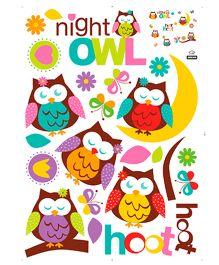 Studio Briana Cute Night Owl Colorful Wall Sticker - Multi Color