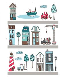 Studio Briana City Vector Art Wall Sticker - Multi Color