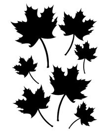 Studio Briana Seven Maple Leaves Silhouette Wall Sticker - Black